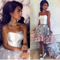 High Low Prom Dresses Strapless With Flower  Evening Gowns S476