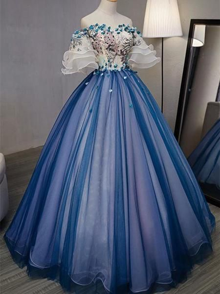 A-line Princess Straight Neck Half Sleeve Prom Dresses, Floor Length Dresses S4837