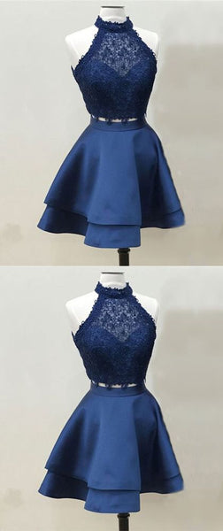 Two Piece Lace Homecoming Dress,Royal Blue  Cheap Homecoming Dress  S487