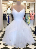 V Neck Short White Prom Dresses, Short White Homecoming Dresses, Graduation Dresses, Formal Dresses  S48