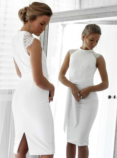 Lace High-Neck Short Homecoming Dress With Back Slit And Satin Sashes S19063