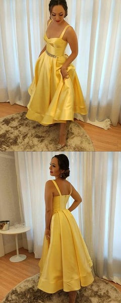 Charming Yellow Gold Homecoming Dresses Satin Spaghetti Straps Ball Gown Tea Length Prom Dress S14625