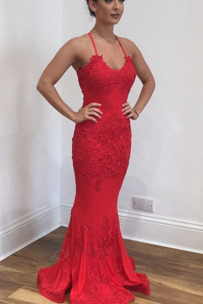 Mermaid Red Prom Dress with Cross Back S16956