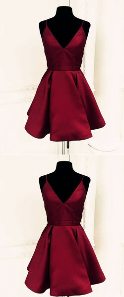 Burgundy spaghetti straps short homecoming dress S21062