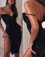 Off the sholuder black short homecoming dress  S16077
