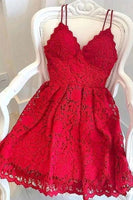 Short Red Lace Formal Graduation Homecoming Dresses S16049