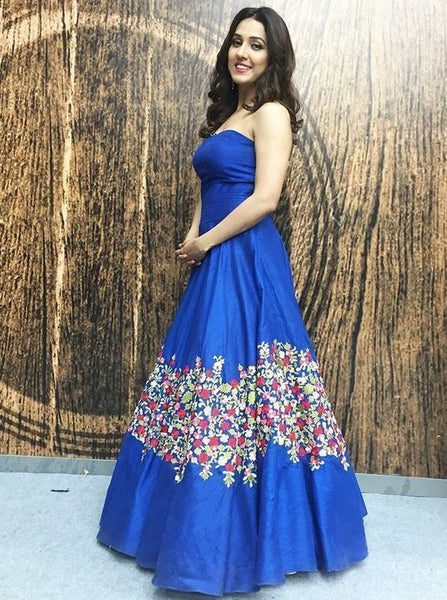 A-Line Strapless Floor Length Blue Floral Satin Prom Dress S17241