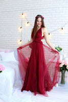Burgundy tulle convertible prom dress S16416