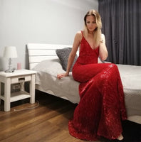 Sexy Red Sequin Prom Dresses Mermaid Floor Length V Neck Backless Party Dress S17788