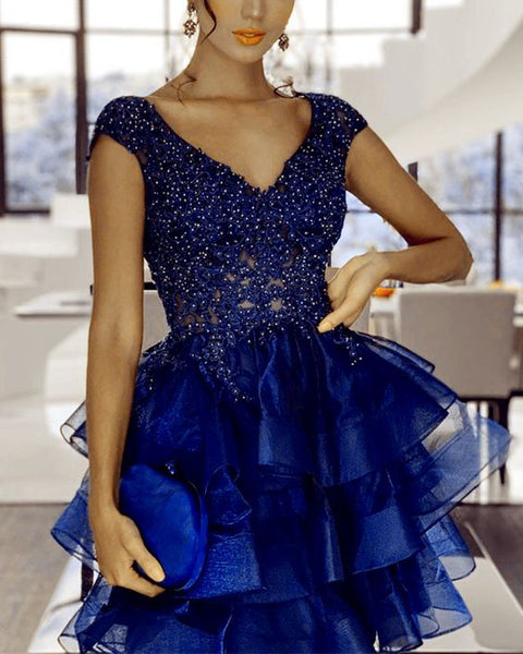 Short organza ruffles homecoming dresses navy blue mini prom gown lace v neck S15835