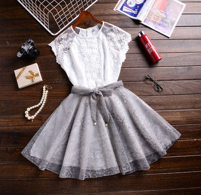 Two pieces short lace homecoming dress, summer dress, women fashion dress S14778