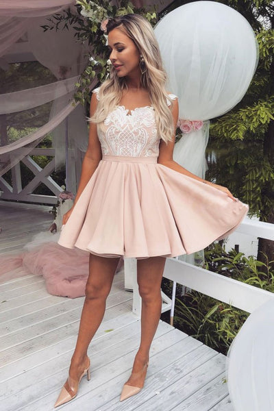 PINK LACE SATIN SHORT PROM DRESS, PINK LACE HOMECOMING DRESS S14747