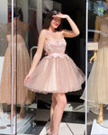 Champagne homecoming dresses tulle sweetheart laxe embroidery prom gown short S15836