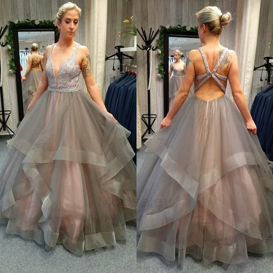 Cross Back Grey Tulle Ball Gown , Open Back Prom Dress S17849