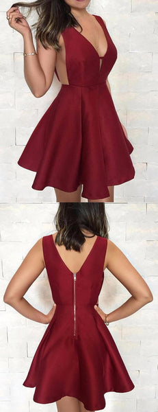 Burgundy Satin V-neck V-back Fashion For Teens Homecoming Dresses S19357