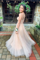 Sweetheart  Flowy Champagne Prom Dress with Ribbon S6787