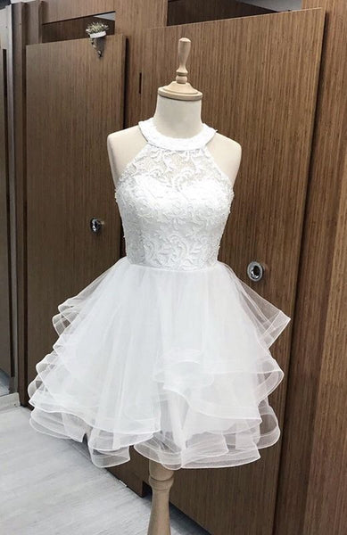 cute white homecoming dresses organza ruffles lace halter S15639