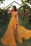 SIMPLE YELLOW CHIFFON LONG PROM DRESS S16539