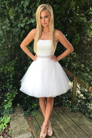 White Off Shoulder A-line Tulle Beaded Strapless Homecoming Dresses S491