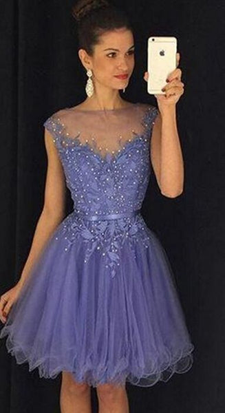 Lavender Tulle Homecoming Dress,Elegant A-Line Homecoming Dresses S14970
