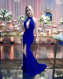 Halter Royal Blue Prom Dress, Mermaid Long Prom Dress With Split S17384