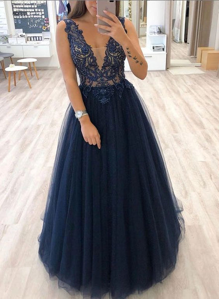 A-line V Neck Navy Blue Tulle Prom Dress  S17657