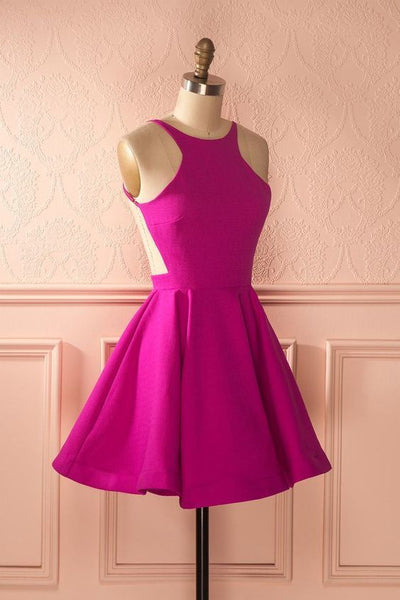 Simple backless short homecoming dress S23184