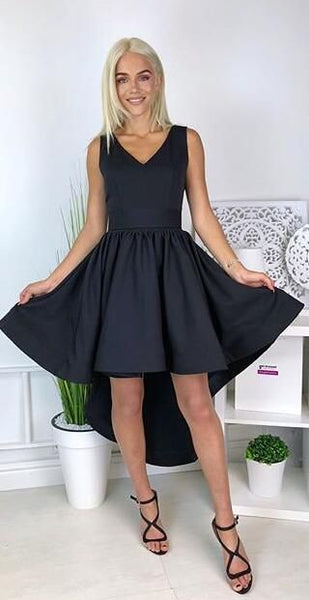 Simple V Neck High Low Black Homecoming Dress S17628