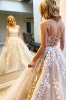 A-line ivory tulle and lace floor length long prom dress with lace up back S16107
