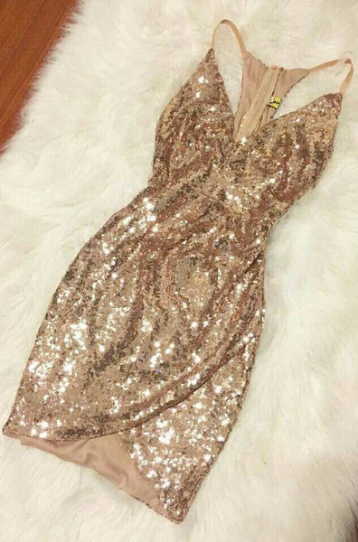 Gold Sequin Cocktail Dress, Glitter Homecoming Dress S15745