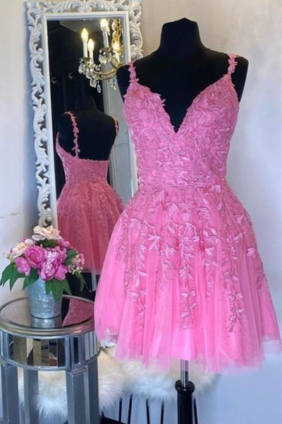 Handmade Short A-line Bright Pink Custom Homecoming Dress  S15995