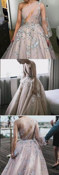 Long Sleeve One Shoulder Sparkly Prom Dress Long Evening Dress, Long Prom Dresses  S14121