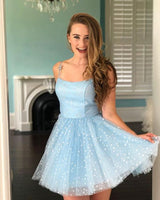 Cute Light Blue Stars Tulle Homecoming Dresses, Short Sweet Party S23142