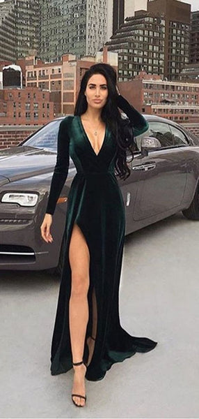V-neck Emerald Green Velvet Prom Dresses, Side Slit Prom Dresses, Long Prom Dresses  S16031