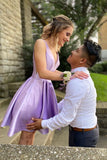 lavender short satin homecoming dress party dress S13954