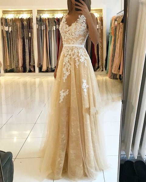 A-line V Neck Lace Prom Dress, Charming Prom Dress S17616