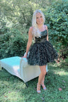 Short Black and Gold Stars Homecoming dress S19132