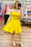 strapless short yellow homecoming dress party dress S13952