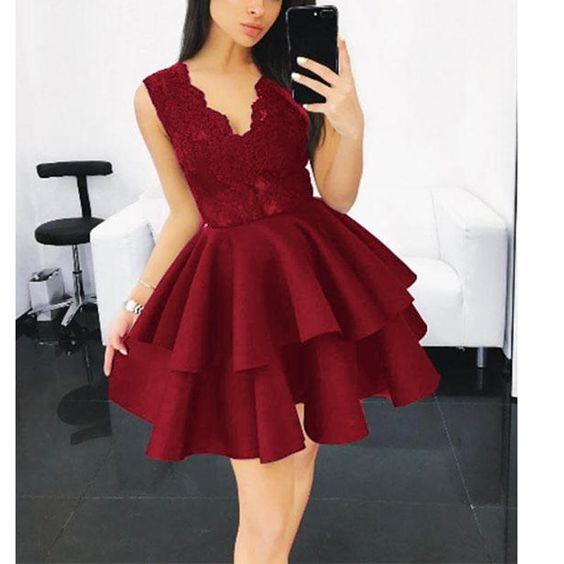 V Neck Burgundy Short Homecoming Dress S20837