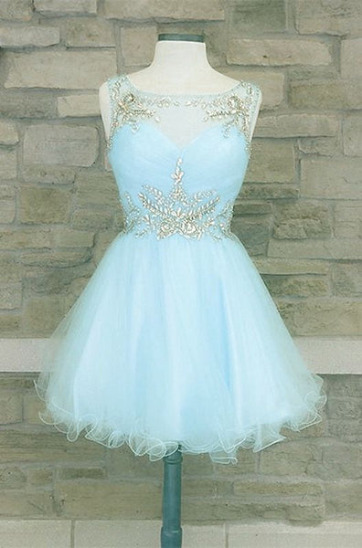 Light blue homecoming dresses beaded scoop neckline S15950