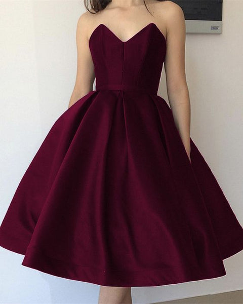 burgundy ball gown dresses prom strapless bodice corset ,short homecoming dress S13474