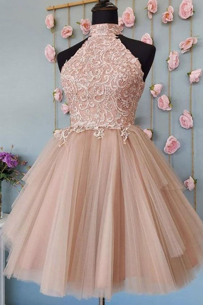 Pink tulle lace short lace homecoming dress S13742