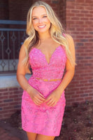 Pink Homecoming Dress With Appliques S15685