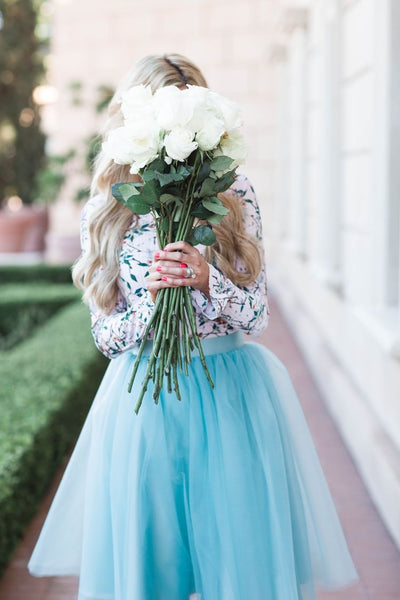 TWO PIECE TULLE HOMECOMING DRESSES WITH LONG SLEEVES S14774