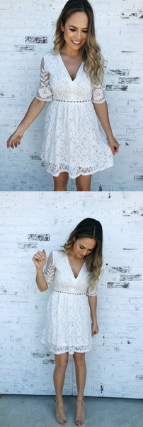 White Lace Short Homecoming Dress S20401