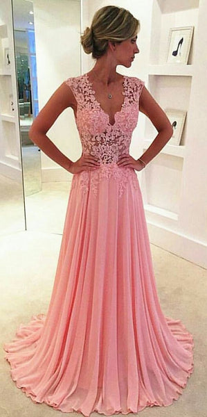 A-line Pink Lace Prom Dress, Charming Prom Dress  S17473