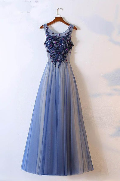Blue Scoop Neck Sleeveless Prom Dress,A Line Floor Length Beading Evening Dress S17100