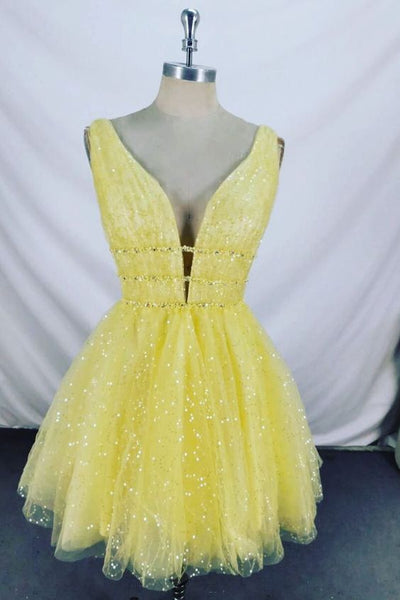 Sparkling Beading Yellow Homecoming Dress S14544