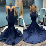 Sexy Long Sleeves Mermaid Navy Blue Prom Dress S17208