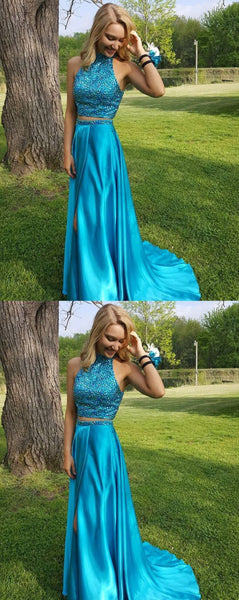 Two Piece Prom Dresses Blue Long Formal Dresses For Teens S17415